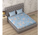 Image of 3 Piece Set : Floral Printed Microfiber Sheet Set including Flat Sheet (230x265cm), Fitted Sheet (140x190+30cm) and Pillow Cases (2Pcs - 50x75cm) - Sky Blue - Double