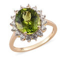 Image of 9K Yellow Gold Hebei Peridot and Natural Cambodian Zircon Ring 6.25 Ct.
