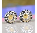 Image of Platinum and Yellow Gold Overlay Sterling Silver Earrings (with Push Back)