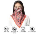 Image of New Arrival- 2 in 1 Block Pattern 100% Mulberry Silk Scarf and Protective Face Covering in Multicolour (Size 40x40 Cm)