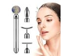 Image of DOD:  4-in-1 Lapis Facial Roller - Silver Plated Interchangeable Heads (Incl. Lapis, T-Shaped and Drip-Shaped Face Lift, Circle Eye Massager Head) (1xAA Battery not included)