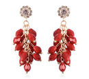 Image of Simulated Ruby, White Austrain Crystal dangling Earrings (with Push Back) in Gold Tone