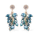 Image of Simulated Blue Topaz, White Austrian Crystal Dangling Earrings (with Push Back) in Gold Tone