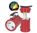 Image of 3 in 1 Flame Lantern with white LED Light, Flame Light and Flashlight (3xAA Battery Not Included) (Size 9x14.5 Cm) - Red