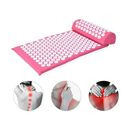 Image of 2 Piece Set - Acupressure Mat (62x38cm) and Pillow (36x14x9cm) - Pink and White