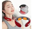 Image of Intelligent Cervical Vertebra Massager with Electrode Patch (Size 15x14x5 Cm) - Red and Grey