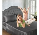 Image of 4 Piece 100% Bamboo Bedding Set - incld. Flat Sheet (230x265cm), Fitted Sheet (140x190+30cm), 2 Pillow Cases (50x75cm) - Dark Grey - DOUBLE