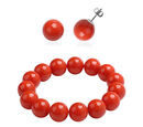 Image of 2 Piece Set - Living Coral Colour Shell Pearl Beaded Stretchable Bracelet (Size 7) with Earrings (with Push Back) in Rhodium Overlay Sterling Silver