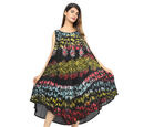 Image of DOD - Summer Special- Embroided Tie-Dye Round Neck Umbrella Dress (One Size; L-121cm x W-111cm) - Black Floral
