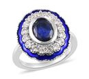 Image of Masoala Sapphire(9x7) and Natural Cambodian Zircon Enamelled Ring in Platinum Overlay Sterling Silver 3.50 Ct, Silver wt 5.00 Gms