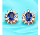 Image of 9K Yellow Gold Royal Ceylon Sapphire and Diamond (I3 /G-H) Stud Earrings (with Push Back) 1.26 Ct.