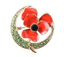 Image of Black and Green Austrian Crystal Enamelled Poppy Brooch in Gold Tone