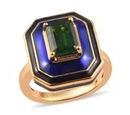 Image of GP - AA Russian Diopside and Blue Sapphire Enamelled Ring in 14K Gold Overlay Sterling Silver 1.50 Ct, Silver wt 5.62 Gms