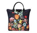 Image of Signare Tapestry - Bosschaert Art A Still Life of Flowers Foldaway Bag (Size 30X9X36) - Black