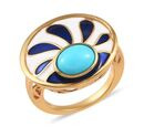 Image of AA Arizona Sleeping Beauty Turquoise Enamelled Ring in 14K Gold Overlay Sterling Silver 1.50 Ct.