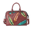 Image of 100% Genuine Leather Leaf Printed Handbag with Detachable Shoulder Strap (Size 29x11x23cm) - Bronze