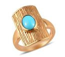 Image of AA Arizona Sleeping Beauty Turquoise Ring in 14K Gold Overlay Sterling Silver 1.00 Ct, Silver wt 5.76 Gms