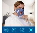 Image of Letter Pattern Double Layer Reusable Open Mouth Face Covering with Adjustable Ear Loop in Blue-Grey Colour (Size 22x18 Cm)