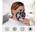 Image of Daisy Pattern Double Layer Open Mouth Reusable Face Covering with Adjustable Ear Loop (Size 22x18 Cm) - Black & White