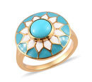 Image of AA Arizona Sleeping Beauty Turquoise Enamelled Floral Ring in 14K Gold Overlay Sterling Silver 1.25 Ct.