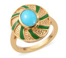 Image of Arizona Sleeping Beauty Turquoise Enamelled Ring in 14K Gold Overlay Sterling Silver 1.00 Ct.