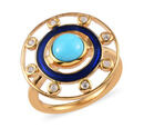 Image of Arizona Sleeping Beauty Turquoise and Natural Cambodian Zircon Enamelled Ring in 14K Gold Overlay Sterling Silver 1.00 Ct.