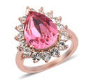 Image of J Francis - Crystal from Swarovski Rose Colour Crystal and White Colour Crystal Ring in Rose Gold Overlay Sterling Silver