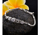 Image of Monster Deal- Royal Bali Collection Polki Diamond Tulang Naga Bracelet (Size 7.5) in Sterling Silver 1.35 Ct, Silver wt 11.62 Gms