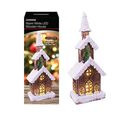 Image of 3 LED Tier Snow Tipped  Wood House (Size: 17x11x46cm) (2xAA Battery not Included)