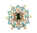 Image of Russian Diopside Enamelled Floral Pendant in 14K Gold Overlay Sterling Silver wt. 5.01 Gms