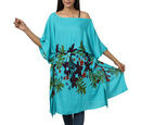 Image of Floral printed Kaftan with Waist Belt (Size S to XXL 91x105cm) - Teal Green