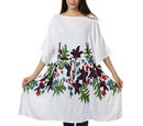 Image of Floral printed Kaftan with Waist Belt (Size S to XXL 91x105cm)  - White