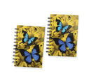 Image of Set of 2 - Glossy Butterfly Cover Spiral Notebook (Size 15x10.5 cm) - 120 Pages