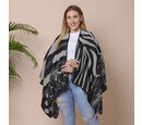Image of Stripes, Polka Dot and Snake Skin Pattern Ruana with Border (Size 75x135 Cm) - Black and Grey