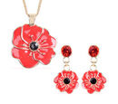 Image of TJC Poppy Design - Set of 2  Black and Red Austrian Crystal Enamelled Poppy Earrings (with Push Back) and Pendant With Chain (Size 26 with Extension) in Yellow Gold Tone