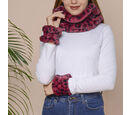 Image of 2 Piece Set - Leopard Skin Pattern Faux Fur infinity Scarf (Size 32x24cm) and Hand Cuffs (Size 9.5x12cm) - Wine