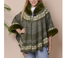 Image of Green Colour Half Round Shape Blanket Wrap with Faux Fur Collar (Size 109.22 x 80.01cm)