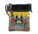 Image of SUKRITI 100% Genuine Leather Traditional Peacock Print Crossbody Bag (Size:15.75x19.81cm) with Shoulder Strap (135cm) - Mustard and Multi Colour