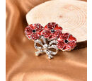 Image of TJC Poppy Design - Red, Black and White Austrian Crystal Enamelled Poppy Brooch in Silver Tone