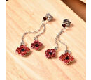 Image of TJC Poppy Design - Black and Red Austrian Crystal Enamelled Poppy Dangle Earrings (with Push Back) in Silver Tone