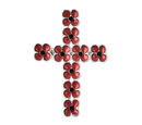 Image of TJC Poppy Design - Black Austrian Crystal Enamelled Poppy Flower Cross Brooch in Silver Tone