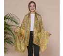 Image of Yellow Flower Pattern 100% Mulberry Silk Scarf (Size 175x110 Cm)