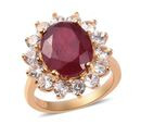 Image of AA African Ruby and Natural Cambodian Zircon Ring in 14K Gold Overlay Sterling Silver 8.52 Ct.