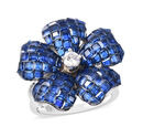 Image of ELANZA Simulated Blue Sapphire and Simulated Diamond Floral Ring in Rhodium Overlay Sterling Silver