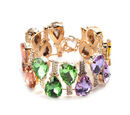 Image of Multi Colour Simulated Gemstone and White Austrian Crystal Bangle (Size 6.5 with Extender) in Yellow Gold Tone