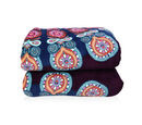Image of Super Find - Set of 3 - Microflannel Mandala Printed Comforter in King Size with Sherpa Lining with 2 Sherpa Pillowcases in Wine Colour