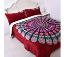 Image of Super Find - Set of 3 - Microflannel Mandale Printed Comforter in King Size with Sherpa Lining with 2 Sherpa Pillowcases in Red Colour