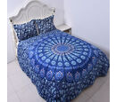 Image of Super Find - Set of 3 - Microflannel Mandala Printed Comforter in King Size with Sherpa Lining with 2 Sherpa Pillowcases in Blue Colour