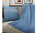 Image of New Arrival- 2 Piece Set - Herringbone Pattern Wool Throw Blanket with Fringe (Size 135x170cm) and Cushion Cover with Zipper Closure and Flap Over (43x43cm) - Blue