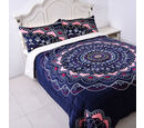 Image of Set of 3 - Microflannel Mandala Printed Comforter in King Size with Sherpa Lining with 2 Sherpa Pillowcases - Navy, Pink and Multi Colour